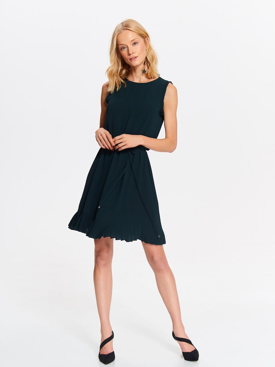 Платье Top Secret, цвет: темно-зеленый. SSU2005CZ. Размер 40 (48)SSU2005CZСтильное платье от Top Secret выполнено из полиэстера с добавлением эластана. Модель-миди с круглым вырезом горловины и без рукавов застегивается сзади на пуговицу. На талии модель дополнена завязками.