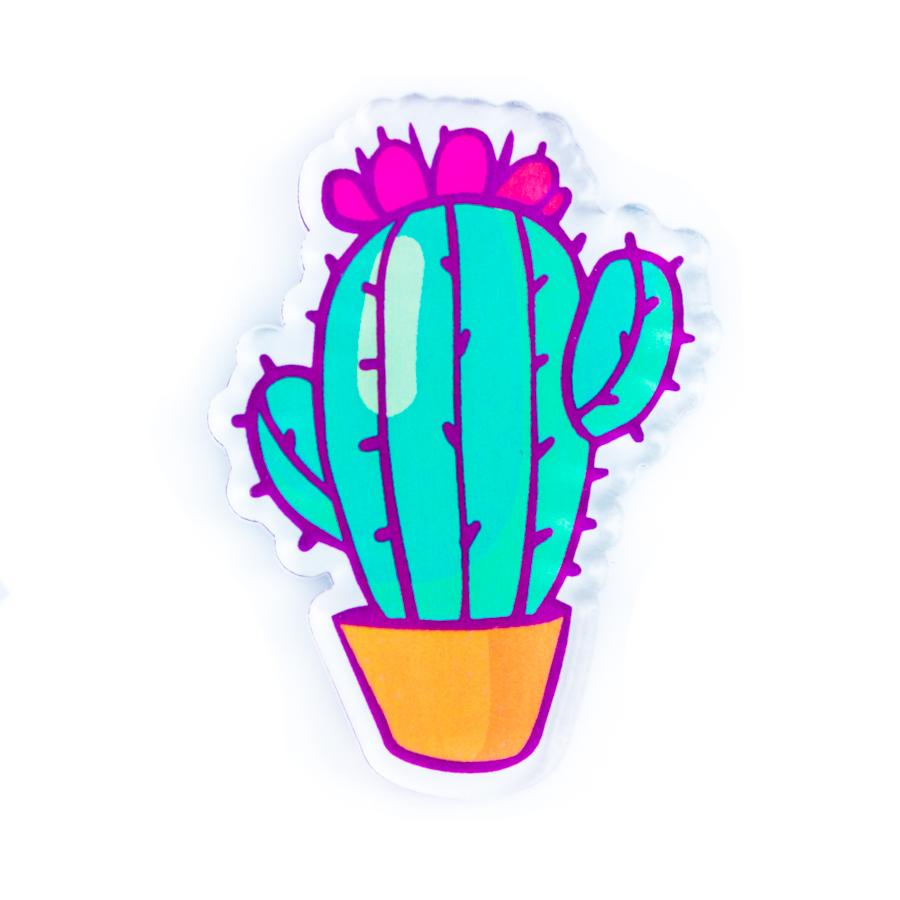 Брошь Кактус —креативный значок, объемный и прозрачный, чем-то напоминающий сладкий леденец! Прекрасно сочетается с любыми предметами гардероба.