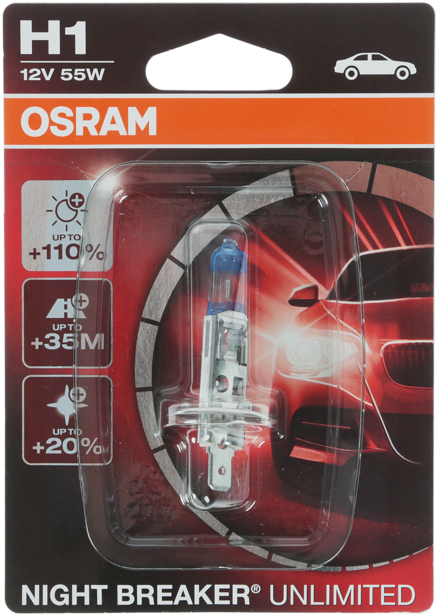 Лампа галогенная Osram H1 Night Breaker Unlimited 12V, 55W, 1 шт цена и фото