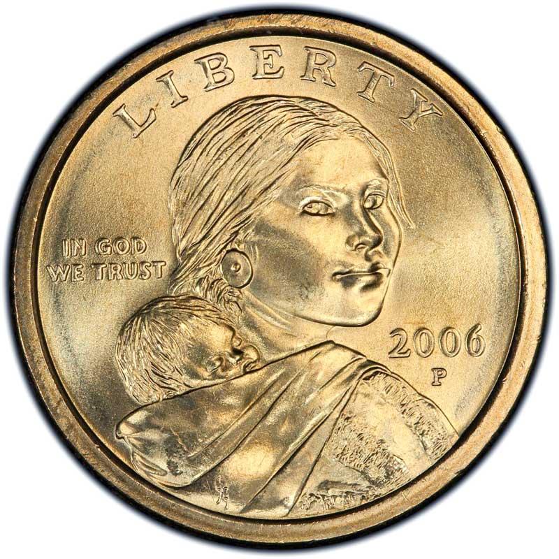Монета номиналом 1 доллар 2006 США Сакагавея, двор P