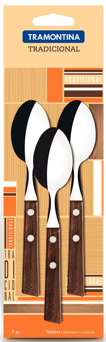 Набор чайных ложек Tramontina Tradicional, 3 шт. 22207/300-TR22207/300-TRЧайные ложки Tramontina Tradicional изготовлены из высококачественной нержавеющей стали AISI 420. Благодаря уникальному методу закалки в несколько этапов (термическая закалка, охлаждение, промораживание, нагревание газом) сталь приобретает особую пластичность, коррозийно и жаростойкость, сохраняя твердость порядка 53 единиц по шкале Роквелла. Как результат обеспечивается более долгий срок службы по сравнению с изделиями из аналогичной стали других производителей.Толстая сталь и усиленное крепление рукоятки заклепками гарантируют сохранность в течение многих лет.При производстве особое внимание уделяется окончательной обработке, что предохраняет от риска пораниться о края изделия. Ложки с симметричной чашей и тщательно закругленными краями для более комфортного использования.Рукоятки серии Tradicional выполнены из натурального дерева. Гарантия от производственного брака на серию Tradicional 3 года!Материал: нержавеющая сталь AISI 420 Материал рукоятки: дерево Количество ложек: 3 шт Толщина стали: 1 мм Страна производства: Бразилия