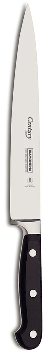Нож для мяса Tramontina Century Line, цвет: черный, длина лезвия 15 см24010/106-TRПроцесс производства ножей Century состоит из 37 этапов, включая уникальный метод закалкив несколько этапов и ковку стали в штампах: - Заготовка из высокоуглеродистой нержавеющей стали DIN1.4110 с добавлениеммолибдена - Ковка в штампе и формирование шейки ножа - Закаливание в специальной печи (примерно + 1.060°C)- Охлаждение системой вентиляции до +350°C - Промораживание (-80°C) на 30 минут - Нагревание газом (+250°C) (получена твердость 56-58 единиц по шкале Роквелла) - Формирование клинка (конусное) - Поликарбонат в горячем виде наливается на ручку, что гарантирует отсутствие зазоровмежду ручкой и клинком - Отделка рукоятки и шейки ножа - Финальная заточка лезвия - Лазерная штамповка товарного знака TRAMONTINAСталь приобретает особую пластичность, коррозийно и жаростойкость, сохраняятвердость порядка 58 единиц по шкале Роквелла. Как результат, ножи TRAMONTINA требуютболее редкой правки и заточки, что обеспечивает более долгий срок службы по сравнению сножами из аналогичной стали других производителей.Каждый этап производства тщательно контролируется - от выбора материала дозавершающего штриха, поэтому каждый нож Century от TRAMONTINA уникален.Рукоятки серии Century выполнены из поликарбоната, более долговечного и надежногоматериала, чем распространенный бакелит. Выдерживают температуру до 200°C. Гарантируетвысокую прочность, устойчивость и безопасность.Материал лезвия: высокоуглеродистая сталь DIN 1.4110 с добавлением молибдена Материал рукоятки: поликарбонат с 30% содержанием стекловолокна Длина лезвия: 15 см Можно мыть в посудомоечной машине.