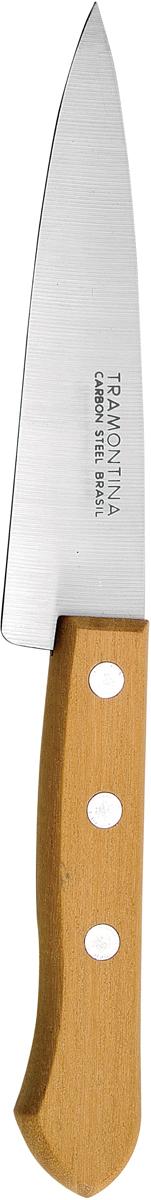 Нож поварской Tramontina Carbon, длина лезвия 25 см22950/000-TRДля изготовления лезвия используется углеродистая сталь SAE 1070 с содержанием углерода 0,7%, что говорит о балансе в стали ножа феррита и перлита.Благодаря уникальному методу закалки в несколько этапов (термическая закалка, охлаждение, промораживание, нагревание газом) сталь SAE 1070 приобретает особую гибкость и твердость, позволяющую сохранять остроту лезвия в течение продолжительного времени при высоких интенсивных нагрузках.Рукоятки серия Carbon выполнены из натурального дерева.Гарантия от производственного брака на ножи серии Carbon 3 года!Материал лезвия: углеродистая сталь SAE 1070Материал рукоятки: деревоДлина лезвия: 25 смСтрана производства: Бразилия