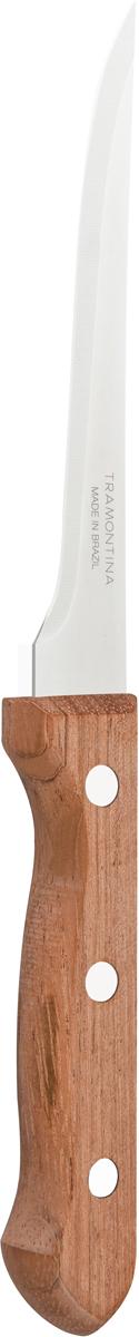 Нож разделочный Tramontina Dynamic, длина лезвия 12,5 см. 22313/005-TR22313/005-TRБлагодаря уникальному методу закалки в несколько этапов:- термическая закалка от + 850°C до + 1 060°C; - охлаждение системой вентиляции до +350°C; - промораживание при -80°C в течение 30 минут; - нагревание газом от +250°C до +310°C сталь приобретает особую пластичность, коррозийно и жаростойкость, сохраняя твердость порядка 53 единиц по шкале Роквелла. Как результат, ножи TRAMONTINA требуют более редкой правки и заточки, что обеспечивает более долгий срок службы по сравнению с ножами из аналогичной стали других производителей. Рукоятки серии Dynamic выполнены из натурального дерева. Гарантия от производственного брака на ножи серии Dynamic 3 года!Материал лезвия: нержавеющая сталь AISI 420Материал рукоятки: деревоДлина лезвия: 12,5 смСтрана производства: Бразилия