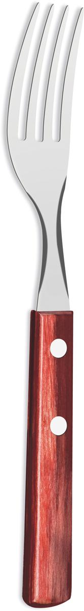 Вилка столовая Tramontina Polywood, цвет: красно-коричневый, длина 19,5 см21102/470-TRСтоловая вилка Tramontina Polywood изготовлена из высококачественной нержавеющейстали AISI 420. Благодаря уникальному методу закалки в несколько этапов (термическаязакалка, охлаждение, промораживание, нагревание газом) сталь приобретает особуюпластичность, коррозийность и жаростойкость, сохраняя твердость порядка 53 единиц пошкале Роквелла. Как результат обеспечивается более долгий срок службы по сравнению сизделиями из аналогичной стали других производителей. Толстая сталь и усиленное крепление рукоятки заклепками гарантируют сохранность втечение многих лет. Рукоятки серии Polywood выполнены из натурального дерева - тонкого буковогошпона, пропитанного смолой и клеем, запрессованного при температуре 150°С. Подобнаятехнология изготовления рукоятки позволяет мыть вилки в посудомоечной машине.При производстве особое внимание уделяется окончательной обработке, что предохраняетот риска пораниться о края изделия. Гарантия от производственного брака на серию Polywood 5 лет! Материал: нержавеющая сталь AISI 420. Материал рукоятки: дерево. Толщина стали: 1,5 мм. Можно мыть в посудомоечной машине.
