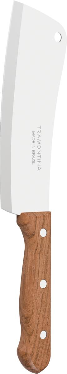 Благодаря уникальному методу закалки в несколько этапов: - термическая закалка от + 850°C до + 1 060°C;  - охлаждение системой вентиляции до +350°C;  - промораживание при -80°C в течение 30 минут;  - нагревание газом от +250°C до +310°C  сталь приобретает особую пластичность, коррозийно и жаростойкость, сохраняя твердость порядка 53 единиц по шкале Роквелла. Как результат, топорик TRAMONTINA требуют более редкой правки и заточки, что обеспечивает более долгий срок службы по сравнению с топориками из аналогичной стали других производителей.   Рукоятки серии Dynamic выполнены из натурального дерева.   Гарантия от производственного брака на изделия серии Dynamic 3 года!  Материал лезвия: нержавеющая сталь AISI 420 Материал рукоятки: дерево Длина лезвия: 15 см Страна производства: Бразилия