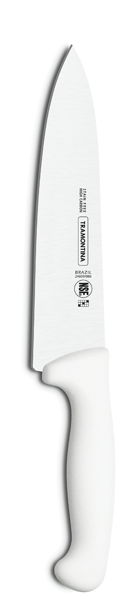 Нож для мяса Tramontina Proffecional Master, цвет: белый, длина лезвия 20 см24609/088-TRНожи Tramontina Professional Master подразумевают очень интенсивную ежедневную нагрузку профессионального применения, поэтому имеют высокий запас прочности. Долговечный и обладающий отличной способностью сохранять заточку клинок с полипропиленовой рукояткой, с встроенной антибактериальной защитой, которая не позволяет развиваться грибку и бактериям. Ручка и шейка каждого ножа разработана с учетом формы руки и вида выполняемых работ, что обеспечивает максимально комфортное нарезание продуктов, разделку мяса или рыбы. Удобный захват позволяет избежать скольжения руки. Защита Microban не наноситься сверху, она добавляется непосредственно в состав полипропилена, из которого изготавливаются рукоятки, поэтому действие антимикробного компонента продолжается так же долго, как и жизнь ножа, она не смывается моющими средствами и не пропадает после мытья в посудомоечной машине. Рукоятка с шероховатым напылением для предотвращения скольжения ножа во время использования. V-образная форма клинка гарантирует легкую и идеально точную нарезку.Процесс производства ножей Professional Master состоит из 37 этапов:- Заготовка из нержавеющей стали DIN1.4110 - Ковка в штампе и формирование шейки ножа - Закаливание в специальной печи (примерно + 1.060°C) - Охлаждение системой вентиляции до +350°C - Промораживание (-80°C) на 30 минут - Нагревание газом (+250°C) (получена твердость 56-58 единиц по шкале Роквелла) - Формирование клинка (конусное) - Поликарбонат в горячем виде наливается на ручку, что гарантирует отсутствие зазоров между ручкой и клинком - Отделка рукоятки и шейки ножа - Финальная заточка лезвия - Лазерная штамповка товарного знака TRAMONTINA.Материал лезвия: высокоуглеродистая сталь DIN 1.4110 с добавлением молибдена. Материал рукоятки: полипропилен c противомикробной защитой Microban. Длина лезвия: 20 см. Можно мыть в посудомоечной машине.