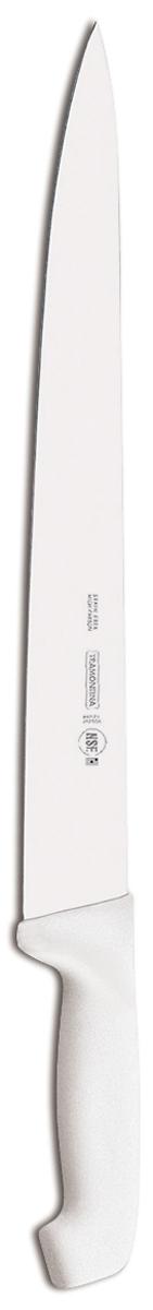 Ножи Tramontina Professional Master подразумевают очень интенсивную ежедневную нагрузку профессионального применения, поэтому имеют высокий запас прочности.Долговечный и обладающий отличной способностью сохранять заточку клинок с полипропиленовой рукояткой, с встроенной антибактериальной защитой, которая не позволяет развиваться грибку и бактериям.Ручка и шейка каждого ножа разработана с учетом формы руки и вида выполняемых работ, что обеспечивает максимально комфортное нарезание продуктов, разделку мяса или рыбы.Удобный захват позволяет избежать скольжения руки.Защита Microban не наноситься сверху, она добавляется непосредственно в состав полипропилена, из которого изготавливаются рукоятки, поэтому действие антимикробного компонента продолжается так же долго, как и жизнь ножа, она не смывается моющими средствами и не пропадает после мытья в посудомоечной машине. Рукоятка с шероховатым напылением для предотвращения скольжения ножа во время использования.V-образная форма клинка гарантирует легкую и идеально точную нарезку.Процесс производства ножей Professional Master состоит из 37 этапов:- Заготовка из нержавеющей стали DIN1.4110 - Ковка в штампе и формирование шейки ножа- Закаливание в специальной печи (примерно + 1.060°C) - Охлаждение системой вентиляции до +350°C- Промораживание (-80°C) на 30 минут- Нагревание газом (+250°C) (получена твердость 56-58 единиц по шкале Роквелла)- Формирование клинка (конусное)- Поликарбонат в горячем виде наливается на ручку, что гарантирует отсутствие зазоров между ручкой и клинком- Отделка рукоятки и шейки ножа- Финальная заточка лезвия- Лазерная штамповка товарного знака TRAMONTINAМатериал лезвия: высокоуглеродистая сталь DIN 1.4110 с добавлением молибденаМатериал рукоятки: полипропилен c противомикробной защитой Microban Длина лезвия: 35 смМожно мыть в посудомоечной машине: даСтрана производства: Бразилия