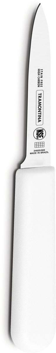 Ножи Tramontina Professional Master подразумевают очень интенсивную ежедневную нагрузку профессионального применения, поэтому имеют высокий запас прочности. Долговечный и обладающий отличной способностью сохранять заточку клинок с полипропиленовой рукояткой, с встроенной антибактериальной защитой, которая не позволяет развиваться грибку и бактериям. Ручка и шейка каждого ножа разработана с учетом формы руки и вида выполняемых работ, что обеспечивает максимально комфортное нарезание продуктов, разделку мяса или рыбы. Удобный захват позволяет избежать скольжения руки. Защита Microban не наноситься сверху, она добавляется непосредственно в состав полипропилена, из которого изготавливаются рукоятки, поэтому действие антимикробного компонента продолжается так же долго, как и жизнь ножа, она не смывается моющими средствами и не пропадает после мытья в посудомоечной машине. Рукоятка с шероховатым напылением для предотвращения скольжения ножа во время использования. V-образная форма клинка гарантирует легкую и идеально точную нарезку.  Процесс производства ножей Professional Master состоит из 37 этапов:  - Заготовка из нержавеющей стали DIN1.4110 - Ковка в штампе и формирование шейки ножа - Закаливание в специальной печи (примерно + 1.060°C) - Охлаждение системой вентиляции до +350°C - Промораживание (-80°C) на 30 минут - Нагревание газом (+250°C) (получена твердость 56-58 единиц по шкале Роквелла) - Формирование клинка (конусное) - Поликарбонат в горячем виде наливается на ручку, что гарантирует отсутствие зазоров между ручкой и клинком - Отделка рукоятки и шейки ножа - Финальная заточка лезвия - Лазерная штамповка товарного знака TRAMONTINA.  Материал лезвия: высокоуглеродистая сталь DIN 1.4110 с добавлением молибдена. Материал рукоятки: полипропилен c противомикробной защитой Microban. Длина лезвия: 7,5 см. Можно мыть в посудомоечной машине.