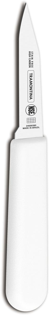 Нож для очистки овощей Tramontina Proffecional Master, цвет: белый, длина лезвия 7,5 см. 24626/083-TR24626/083-TRНожи Tramontina Professional Master подразумевают очень интенсивную ежедневную нагрузку профессионального применения, поэтому имеют высокий запас прочности.Долговечный и обладающий отличной способностью сохранять заточку клинок с полипропиленовой рукояткой, с встроенной антибактериальной защитой, которая не позволяет развиваться грибку и бактериям.Ручка и шейка каждого ножа разработана с учетом формы руки и вида выполняемых работ, что обеспечивает максимально комфортное нарезание продуктов, разделку мяса или рыбы.Удобный захват позволяет избежать скольжения руки.Защита Microban не наноситься сверху, она добавляется непосредственно в состав полипропилена, из которого изготавливаются рукоятки, поэтому действие антимикробного компонента продолжается так же долго, как и жизнь ножа, она не смывается моющими средствами и не пропадает после мытья в посудомоечной машине. Рукоятка с шероховатым напылением для предотвращения скольжения ножа во время использования.V-образная форма клинка гарантирует легкую и идеально точную нарезку.Процесс производства ножей Professional Master состоит из 37 этапов:- Заготовка из нержавеющей стали DIN1.4110 - Ковка в штампе и формирование шейки ножа- Закаливание в специальной печи (примерно + 1.060°C) - Охлаждение системой вентиляции до +350°C- Промораживание (-80°C) на 30 минут- Нагревание газом (+250°C) (получена твердость 56-58 единиц по шкале Роквелла)- Формирование клинка (конусное)- Поликарбонат в горячем виде наливается на ручку, что гарантирует отсутствие зазоров между ручкой и клинком- Отделка рукоятки и шейки ножа- Финальная заточка лезвия- Лазерная штамповка товарного знака TRAMONTINAМатериал лезвия: высокоуглеродистая сталь DIN 1.4110 с добавлением молибденаМатериал рукоятки: полипропилен c противомикробной защитой Microban Длина лезвия: 7,5 смМожно мыть в посудомоечной машине: даСтрана производства: Бразилия