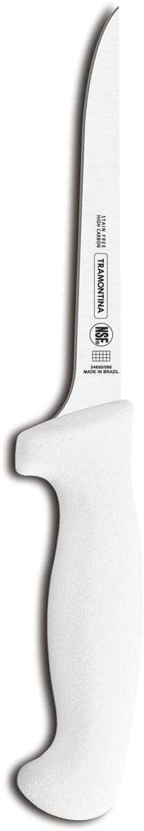 Ножи Tramontina Professional Master подразумевают очень интенсивную ежедневную нагрузку профессионального применения, поэтому имеют высокий запас прочности. Долговечный и обладающий отличной способностью сохранять заточку клинок с полипропиленовой рукояткой, с встроенной антибактериальной защитой, которая не позволяет развиваться грибку и бактериям. Ручка и шейка каждого ножа разработана с учетом формы руки и вида выполняемых работ, что обеспечивает максимально комфортное нарезание продуктов, разделку мяса или рыбы. Удобный захват позволяет избежать скольжения руки. Защита Microban не наноситься сверху, она добавляется непосредственно в состав полипропилена, из которого изготавливаются рукоятки, поэтому действие антимикробного компонента продолжается так же долго, как и жизнь ножа, она не смывается моющими средствами и не пропадает после мытья в посудомоечной машине. Рукоятка с шероховатым напылением для предотвращения скольжения ножа во время использования. V-образная форма клинка гарантирует легкую и идеально точную нарезку.  Процесс производства ножей Professional Master состоит из 37 этапов:  - Заготовка из нержавеющей стали DIN1.4110  - Ковка в штампе и формирование шейки ножа - Закаливание в специальной печи (примерно + 1.060°C)  - Охлаждение системой вентиляции до +350°C - Промораживание (-80°C) на 30 минут - Нагревание газом (+250°C) (получена твердость 56-58 единиц по шкале Роквелла) - Формирование клинка (конусное) - Поликарбонат в горячем виде наливается на ручку, что гарантирует отсутствие зазоров между ручкой и клинком - Отделка рукоятки и шейки ножа - Финальная заточка лезвия - Лазерная штамповка товарного знака TRAMONTINA  Материал лезвия: высокоуглеродистая сталь DIN 1.4110 с добавлением молибдена Материал рукоятки: полипропилен c противомикробной защитой Microban  Длина лезвия: 15 см Можно мыть в посудомоечной машине: да Страна производства: Бразилия