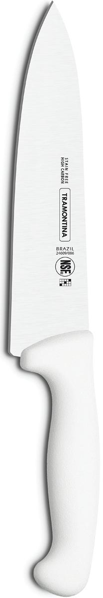 """Ножи Tramontina """"Professional Master"""" подразумевают очень интенсивную ежедневную нагрузку  профессионального применения, поэтому имеют высокий запас прочности. Долговечный и обладающий отличной способностью сохранять заточку клинок с  полипропиленовой рукояткой, с встроенной антибактериальной защитой, которая не позволяет  развиваться грибку и бактериям. Ручка и шейка каждого ножа разработана с учетом формы руки и вида выполняемых работ,  что обеспечивает максимально комфортное нарезание продуктов, разделку мяса или рыбы. Удобный захват позволяет избежать скольжения руки. Защита Microban не наноситься сверху, она добавляется непосредственно в состав  полипропилена, из которого изготавливаются рукоятки, поэтому действие антимикробного  компонента продолжается так же долго, как и жизнь ножа, она не смывается моющими  средствами и не пропадает после мытья в посудомоечной машине. Рукоятка с шероховатым  напылением для предотвращения скольжения ножа во время использования. V-образная форма клинка гарантирует легкую и идеально точную нарезку.  Процесс производства ножей Professional Master состоит из 37 этапов:  - Заготовка из нержавеющей стали DIN1.4110  - Ковка в штампе и формирование шейки ножа - Закаливание в специальной печи (примерно + 1.060°C)  - Охлаждение системой вентиляции до +350°C - Промораживание (-80°C) на 30 минут - Нагревание газом (+250°C) (получена твердость 56-58 единиц по шкале Роквелла) - Формирование клинка (конусное) - Поликарбонат в горячем виде наливается на ручку, что гарантирует отсутствие зазоров  между ручкой и клинком - Отделка рукоятки и шейки ножа - Финальная заточка лезвия - Лазерная штамповка товарного знака TRAMONTINA  Материал лезвия: высокоуглеродистая сталь DIN 1.4110 с добавлением молибдена Материал рукоятки: полипропилен c противомикробной защитой Microban  Длина лезвия: 15 см Можно мыть в посудомоечной машине."""