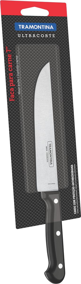 Нож универсальный Tramontina Ultracorte, цвет: черный, длина лезвия 17,5 см23857/107-TRБлагодаря уникальному методу закалки в несколько этапов:- термическая закалка от + 850°C до + 1 060°C; - охлаждение системой вентиляции до +350°C; - промораживание при -80°C в течение 30 минут; - нагревание газом от +250°C до +310°C сталь приобретает особую пластичность, коррозийно и жаростойкость, сохраняя твердость порядка 53 единиц по шкале Роквелла. Как результат, ножи TRAMONTINA требуют более редкой правки и заточки, что обеспечивает более долгий срок службы по сравнению с ножами из аналогичной стали других производителей. Рукоятки серии Ultracorte выполнены из полипропилена с 45% карбоната и нетоксичным противомикробным покрытием Microban , эффективно препятствующим размножению бактерий и сохраняющим свои свойства даже в случае механического повреждения 24 часа в сутки. Гарантия от производственного брака на ножи серии Ultracorte 5 лет!Материал лезвия: нержавеющая сталь AISI 420Материал рукоятки: полипропилен с 45% содержанием карбоната и противомикробной защитой Microban Длина лезвия: 17,5 смМожно мыть в посудомоечной машине: даСтрана производства: Бразилия