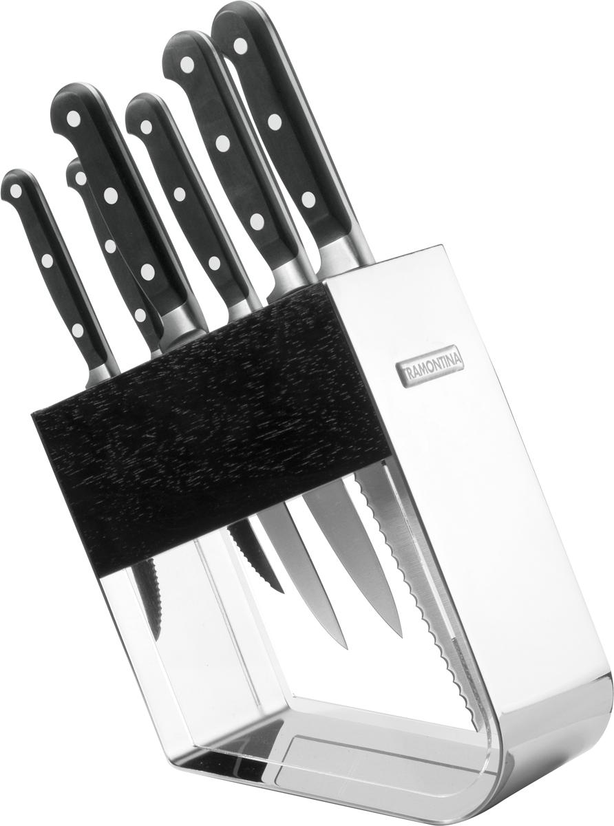 Процесс производства ножей Century состоит из 37 этапов, включая уникальный метод закалки в несколько этапов и ковку стали в штампах: - Заготовка из высокоуглеродистой нержавеющей стали DIN1.4110 с добавлением молибдена - Ковка в штампе и формирование шейки ножа - Закаливание в специальной печи (примерно + 1.060°C) . - Охлаждение системой вентиляции до +350°C. - Промораживание (-80°C) на 30 минут. - Нагревание газом (+250°C) (получена твердость 56-58 единиц по шкале Роквелла). - Формирование клинка (конусное). - Поликарбонат в горячем виде наливается на ручку, что гарантирует отсутствие зазоров между ручкой и клинком. - Отделка рукоятки и шейки ножа. - Финальная заточка лезвия. - Лазерная штамповка товарного знака TRAMONTINA.  Сталь приобретает особую пластичность, коррозийно и жаростойкость, сохраняя твердость порядка 58 единиц по шкале Роквелла. Как результат, ножи TRAMONTINA требуют более редкой правки и заточки, что обеспечивает более долгий срок службы по сравнению с ножами из аналогичной стали других производителей. Каждый этап производства тщательно контролируется - от выбора материала до завершающего штриха, поэтому каждый нож Century от TRAMONTINA уникален. Рукоятки серии Century выполнены из поликарбоната, более долговечного и надежного материала, чем распространенный бакелит. Выдерживают температуру до 200°C. Гарантирует высокую прочность, устойчивость и безопасность.  Гарантия от производственного брака на ножи серии Century 25 лет! Индивидуальная подарочная упаковка.  В составе набора: - нож для овощей 7,5 см. - нож для мяса с зубчиками 12,5 см. - нож для очистки костей 15 см. - кухонный нож 15 см. - поварской нож 20 см. - нож для хлеба 17,5 см. - подставка (дерево, метал, акрил). Материал лезвия: высокоуглеродистая сталь DIN 1.4110 с добавлением молибдена. Материал рукоятки: поликарбонат с 30% содержанием стекловолокна. Количество ножей: 6. Можно мыть в посудомоечной машине: да. Страна производства: Бразилия.