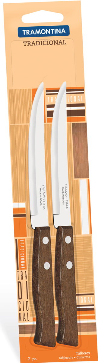 Набор ножей для мяса Tramontina Tradicional, длина лезвия 12,5 см, 2 шт22212/205-TRБлагодаря уникальному методу закалки в несколько этапов: - термическая закалка от + 850°C до + 1 060°C;- охлаждение системой вентиляции до +350°C;- промораживание при -80°C в течение 30 минут;- нагревание газом от +250°C до +310°Cсталь приобретает особую пластичность, коррозийно и жаростойкость, сохраняя твердость порядка 53 единиц по шкале Роквелла. Как результат, ножи TRAMONTINA требуют более редкой правки и заточки, что обеспечивает более долгий срок службы по сравнению с ножами из аналогичной стали других производителей. Рукоятки серии Tradicional выполнены из натурального дерева. Гарантия от производственного брака на ножи серии Tradicional 3 года!Материал лезвия: нержавеющая сталь AISI 420 Материал рукоятки: дерево Длина лезвия: 12,5 см Количество ножей: 2 шт Страна производства: Бразилия