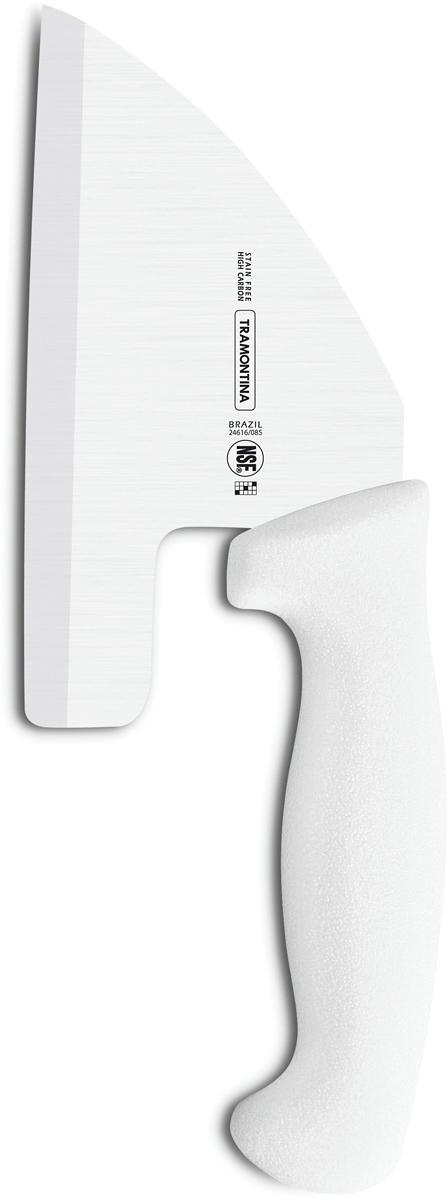 """Ножи Tramontina """"Professional Master"""" подразумевают очень интенсивную ежедневную нагрузку  профессионального применения, поэтому имеют высокий запас прочности. Долговечный и обладающий отличной способностью сохранять заточку клинок с  полипропиленовой рукояткой, с встроенной антибактериальной защитой, которая не позволяет  развиваться грибку и бактериям. Ручка и шейка каждого ножа разработана с учетом формы руки и вида выполняемых работ,  что обеспечивает максимально комфортное нарезание продуктов, разделку мяса или рыбы. Удобный захват позволяет избежать скольжения руки. Защита Microban не наносится сверху, она добавляется непосредственно в состав  полипропилена, из которого изготавливаются рукоятки, поэтому действие антимикробного  компонента продолжается так же долго, как и жизнь ножа, она не смывается моющими  средствами и не пропадает после мытья в посудомоечной машине. Рукоятка с шероховатым  напылением для предотвращения скольжения ножа во время использования. V-образная форма клинка гарантирует легкую и идеально точную нарезку. Материал лезвия: высокоуглеродистая сталь DIN 1.4110 с добавлением молибдена Материал рукоятки: полипропилен c противомикробной защитой Microban  Длина лезвия: 12,5 см Можно мыть в посудомоечной машине."""