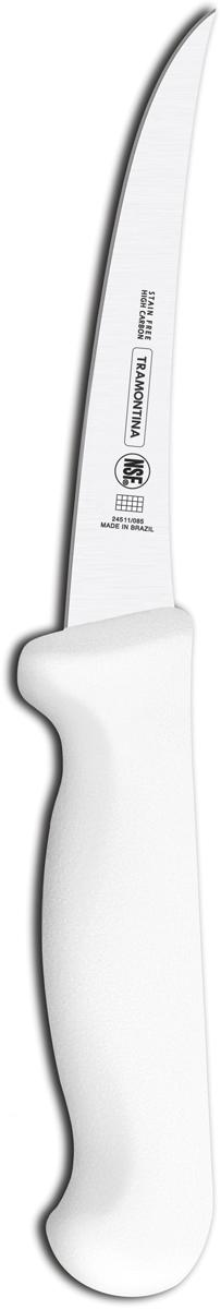 Ножи Tramontina Professional Master подразумевают очень интенсивную ежедневную нагрузку профессионального применения, поэтому имеют высокий запас прочности. Долговечный и обладающий отличной способностью сохранять заточку клинок с полипропиленовой рукояткой, с встроенной антибактериальной защитой, которая не позволяет развиваться грибку и бактериям. Ручка и шейка каждого ножа разработана с учетом формы руки и вида выполняемых работ, что обеспечивает максимально комфортное нарезание продуктов, разделку мяса или рыбы. Удобный захват позволяет избежать скольжения руки. Защита Microban не наноситься сверху, она добавляется непосредственно в состав полипропилена, из которого изготавливаются рукоятки, поэтому действие антимикробного компонента продолжается так же долго, как и жизнь ножа, она не смывается моющими средствами и не пропадает после мытья в посудомоечной машине. Рукоятка с шероховатым напылением для предотвращения скольжения ножа во время использования. V-образная форма клинка гарантирует легкую и идеально точную нарезку.  Процесс производства ножей Professional Master состоит из 37 этапов:  - Заготовка из нержавеющей стали DIN1.4110  - Ковка в штампе и формирование шейки ножа - Закаливание в специальной печи (примерно + 1.060°C)  - Охлаждение системой вентиляции до +350°C - Промораживание (-80°C) на 30 минут - Нагревание газом (+250°C) (получена твердость 56-58 единиц по шкале Роквелла) - Формирование клинка (конусное) - Поликарбонат в горячем виде наливается на ручку, что гарантирует отсутствие зазоров между ручкой и клинком - Отделка рукоятки и шейки ножа - Финальная заточка лезвия - Лазерная штамповка товарного знака TRAMONTINA  Материал лезвия: высокоуглеродистая сталь DIN 1.4110 с добавлением молибдена Материал рукоятки: полипропилен c противомикробной защитой Microban  Длина лезвия: 12,5 см Можно мыть в посудомоечной машине: да Страна производства: Бразилия