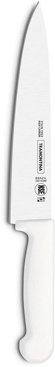 Нож для мяса Tramontina Proffecional Master, цвет: белый, длина лезвия 15 см. 24619/086-TR24619/086-TRНожи Tramontina Professional Master подразумевают очень интенсивную ежедневную нагрузкупрофессионального применения, поэтому имеют высокий запас прочности. Долговечный и обладающий отличной способностью сохранять заточку клинок сполипропиленовой рукояткой, с встроенной антибактериальной защитой, которая не позволяетразвиваться грибку и бактериям. Ручка и шейка каждого ножа разработана с учетом формы руки и вида выполняемых работ,что обеспечивает максимально комфортное нарезание продуктов, разделку мяса или рыбы. Удобный захват позволяет избежать скольжения руки. Защита Microban не наноситься сверху, она добавляется непосредственно в составполипропилена, из которого изготавливаются рукоятки, поэтому действие антимикробногокомпонента продолжается так же долго, как и жизнь ножа, она не смывается моющимисредствами и не пропадает после мытья в посудомоечной машине. Рукоятка с шероховатымнапылением для предотвращения скольжения ножа во время использования. V-образная форма клинка гарантирует легкую и идеально точную нарезку.Процесс производства ножей Professional Master состоит из 37 этапов:- Заготовка из нержавеющей стали DIN1.4110- Ковка в штампе и формирование шейки ножа - Закаливание в специальной печи (примерно + 1.060°C)- Охлаждение системой вентиляции до +350°C - Промораживание (-80°C) на 30 минут - Нагревание газом (+250°C) (получена твердость 56-58 единиц по шкале Роквелла) - Формирование клинка (конусное) - Поликарбонат в горячем виде наливается на ручку, что гарантирует отсутствие зазоровмежду ручкой и клинком - Отделка рукоятки и шейки ножа - Финальная заточка лезвия - Лазерная штамповка товарного знака TRAMONTINAМатериал лезвия: высокоуглеродистая сталь DIN 1.4110 с добавлением молибдена Материал рукоятки: полипропилен c противомикробной защитой MicrobanДлина лезвия: 15 см Можно мыть в посудомоечной машине.