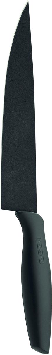 Нож поварской Tramontina Onix, цвет: черный, длина лезвия 20 см23825/068-TRНожи серии Onix изготовлены из высокоуглеродистой нержавеющей стали DIN1.4110 с добавлением молибдена с твердостью стали порядка 58 единиц по шкале Роквелла обладают большой режущей силой. Благодаря уникальному методу закалки в несколько этапов:- термическая закалка от + 850°C до + 1 060°C; - охлаждение системой вентиляции до +350°C; - промораживание при -80°C в течение 30 минут; - нагревание газом от +250°C до +310°C сталь приобретает особую пластичность, коррозийно и жаростойкость, сохраняя твердость порядка 58 единиц по шкале Роквелла. Как результат, ножи TRAMONTINA требуют более редкой правки и заточки, что обеспечивает более долгий срок службы по сравнению с ножами из аналогичной стали других производителей.Лезвие ножа покрыто материалом Starflon High Perfomance (4 слоя на керамической основе), защищающим от окисления, облегчающим чистку и способствующим скольжению.Прорезиненная рукоятка с противоскользящей поверхностью не требует сильного нажима, обладает отличной эргономикой, обеспечивает легкость в обращении. Антибактериальная защита Microban , препятствует образованию неприятного запаха и пятен, вызванных бактериями, плесневым грибком и налетом, сохраняет свои свойства даже в случае механического повреждения 24 часа в сутки.Индивидуальная подарочная упаковка.Материал лезвия: высокоуглеродистая нержавеющая сталь DIN 1.4110 с добавлением молибденаМатериал рукоятки: высококачественная резина c противомикробной защитой Microban Длина лезвия: 20 смМожно мыть в посудомоечной машине: даСтрана производства: Бразилия