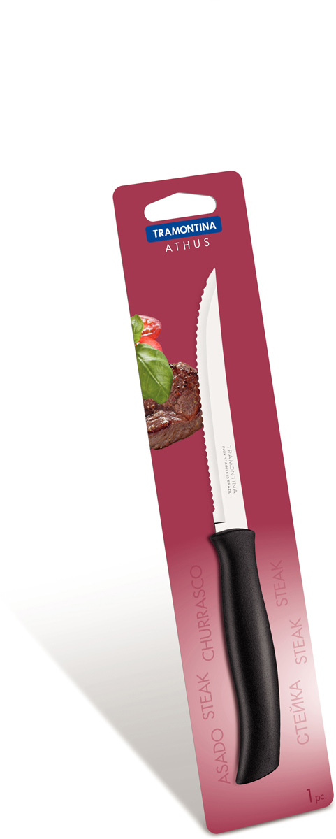 Нож для мяса Tramontina Athus, цвет: черный, длина лезвия 12,5 см. 23081/105-TR23081/105-TRБлагодаря уникальному методу закалки в несколько этапов:- термическая закалка от + 850°C до + 1 060°C; - охлаждение системой вентиляции до +350°C; - промораживание при -80°C в течение 30 минут; - нагревание газом от +250°C до +310°C сталь приобретает особую пластичность, коррозийно и жаростойкость, сохраняя твердость порядка 53 единиц по шкале Роквелла. Как результат, ножи TRAMONTINA требуют более редкой правки и заточки, что обеспечивает более долгий срок службы по сравнению с ножами из аналогичной стали других производителей. Волнистое острие лезвия ножа не потребует постоянной заточки и даст возможность быстро и качественно порезать продукты, даже такие, как помидоры - с мягкой сердцевиной и твердой кожицей.Рукоятки серии Athus выполнены из полипропилена, долговечны, выдерживают температуру до 130°C. Гарантия от производственного брака на ножи серии Athus 3 года!Материал лезвия: нержавеющая сталь AISI 420Материал рукоятки: полипропиленДлина лезвия: 12,5 смМожно мыть в посудомоечной машине: даСтрана производства: Бразилия