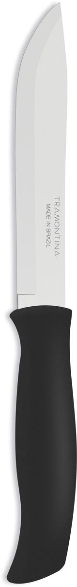 Нож универсальный Tramontina Athus, цвет: черный, длина лезвия 17,5 см. 23083/007-TR23083/007-TRБлагодаря уникальному методу закалки в несколько этапов:- термическая закалка от + 850°C до + 1 060°C; - охлаждение системой вентиляции до +350°C; - промораживание при -80°C в течение 30 минут; - нагревание газом от +250°C до +310°C сталь приобретает особую пластичность, коррозийно и жаростойкость, сохраняя твердость порядка 53 единиц по шкале Роквелла. Как результат, ножи TRAMONTINA требуют более редкой правки и заточки, что обеспечивает более долгий срок службы по сравнению с ножами из аналогичной стали других производителей. Рукоятки серии Athus выполнены из полипропилена, долговечны, выдерживают температуру до 130°C. Гарантия от производственного брака на ножи серии Athus 3 года!Материал лезвия: нержавеющая сталь AISI 420Материал рукоятки: полипропиленДлина лезвия: 17,5 смМожно мыть в посудомоечной машине: даСтрана производства: Бразилия