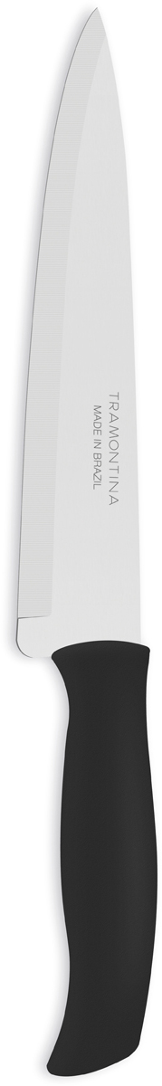 Нож универсальный Tramontina Athus, цвет: черный, длина лезвия 20 см23084/008-TRБлагодаря уникальному методу закалки в несколько этапов:- термическая закалка от + 850°C до + 1 060°C; - охлаждение системой вентиляции до +350°C; - промораживание при -80°C в течение 30 минут; - нагревание газом от +250°C до +310°C сталь приобретает особую пластичность, коррозийно и жаростойкость, сохраняя твердость порядка 53 единиц по шкале Роквелла. Как результат, ножи TRAMONTINA требуют более редкой правки и заточки, что обеспечивает более долгий срок службы по сравнению с ножами из аналогичной стали других производителей. Рукоятки серии Athus выполнены из полипропилена, долговечны, выдерживают температуру до 130°C. Гарантия от производственного брака на ножи серии Athus 3 года!Материал лезвия: нержавеющая сталь AISI 420Материал рукоятки: полипропиленДлина лезвия: 20 смМожно мыть в посудомоечной машине: даСтрана производства: Бразилия