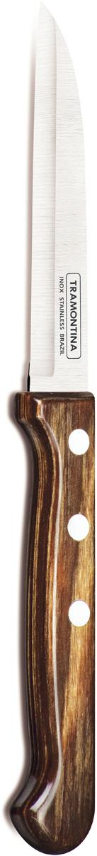 Нож для очистки овощей Tramontina Polywood, цвет: коричневый, длина лезвия 7,5 см21121/193-TRБлагодаря уникальному методу закалки в несколько этапов:- термическая закалка от + 850°C до + 1 060°C; - охлаждение системой вентиляции до +350°C; - промораживание при -80°C в течение 30 минут; - нагревание газом от +250°C до +310°C сталь приобретает особую пластичность, коррозийно и жаростойкость, сохраняя твердость порядка 53 единиц по шкале Роквелла. Как результат, ножи TRAMONTINA требуют более редкой правки и заточки, что обеспечивает более долгий срок службы по сравнению с ножами из аналогичной стали других производителей. Рукоятки серии Polywood выполнены из натурального дерева - тонкого букового шпона, пропитанного смолой и клеем, запрессованного при температуре 150°C. Подобная технология изготовления рукоятки позволяет мыть ножи в посудомоечной машине. Гарантия от производственного брака на ножи серии Polywood 5 лет!Материал лезвия: нержавеющая сталь AISI 420Материал рукоятки: деревоДлина лезвия: 7,5 смМожно мыть в посудомоечной машине: даСтрана производства: Бразилия