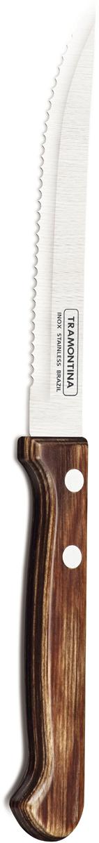 Нож для стейка Tramontina Polywood, цвет: коричневый, длина лезвия 12,5 см21122/195-TRБлагодаря уникальному методу закалки в несколько этапов:- термическая закалка от + 850°C до + 1 060°C; - охлаждение системой вентиляции до +350°C; - промораживание при -80°C в течение 30 минут; - нагревание газом от +250°C до +310°C сталь приобретает особую пластичность, коррозийно и жаростойкость, сохраняя твердость порядка 53 единиц по шкале Роквелла. Как результат, ножи TRAMONTINA требуют более редкой правки и заточки, что обеспечивает более долгий срок службы по сравнению с ножами из аналогичной стали других производителей. Волнистое острие лезвия ножа не потребует постоянной заточки и даст возможность быстро и качественно порезать продукты, даже такие, как помидоры - с мягкой сердцевиной и твердой кожицей.Рукоятки серии Polywood выполнены из натурального дерева - тонкого букового шпона, пропитанного смолой и клеем, запрессованного при температуре 150°C. Подобная технология изготовления рукоятки позволяет мыть ножи в посудомоечной машине. Гарантия от производственного брака на ножи серии Polywood 5 лет!Материал лезвия: нержавеющая сталь AISI 420Материал рукоятки: деревоДлина лезвия: 12,5 смМожно мыть в посудомоечной машине: даСтрана производства: Бразилия