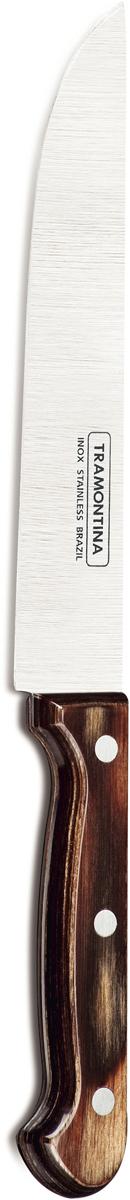 Нож поварской Tramontina Polywood, цвет: коричневый, длина лезвия 17,5 см21138/197-TRБлагодаря уникальному методу закалки в несколько этапов:- термическая закалка от + 850°C до + 1 060°C; - охлаждение системой вентиляции до +350°C; - промораживание при -80°C в течение 30 минут; - нагревание газом от +250°C до +310°C сталь приобретает особую пластичность, коррозийно и жаростойкость, сохраняя твердость порядка 53 единиц по шкале Роквелла. Как результат, ножи TRAMONTINA требуют более редкой правки и заточки, что обеспечивает более долгий срок службы по сравнению с ножами из аналогичной стали других производителей. Рукоятки серии Polywood выполнены из натурального дерева - тонкого букового шпона, пропитанного смолой и клеем, запрессованного при температуре 150°C. Подобная технология изготовления рукоятки позволяет мыть ножи в посудомоечной машине. Гарантия от производственного брака на ножи серии Polywood 5 лет!Материал лезвия: нержавеющая сталь AISI 420Материал рукоятки: деревоДлина лезвия: 17,5 смМожно мыть в посудомоечной машине: даСтрана производства: Бразилия