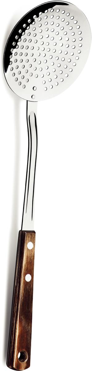 Шумовка Tramontina Polywood, цвет: коричневый, длина 38 см21156/190-TRСерия кухонных аксессуаров TRAMONTINA Polywood подходит для любителей и приверженцев натуральных материалов у себя на кухне. Рабочая часть изготовлена из нержавеющая сталь AISI 420, благодаря уникальному методу закалки в несколько этапов (термическая закалка, охлаждение, промораживание, нагревание газом) сталь приобретает особую пластичность, коррозийно и жаростойкость, сохраняя твердость порядка 53 единиц по шкале Роквелла. Рукоятки серии Polywood выполнены из натурального дерева - тонкого букового шпона, пропитанного смолой и клеем, запрессованного при температуре 150?C. Подобная технология изготовления рукоятки позволяет мыть изделия в посудомоечной машине. Все изделия данной серии имеют петлю для подвешивания. Гарантия от производственного брака на серию Polywood 5 лет!Материал рабочей части: нержавеющая сталь AISI 420 Материал рукоятки: дерево Толщина стали: 0,8 мм Петля для подвешивания: да Можно мыть в посудомоечной машине: да Страна производства: Бразилия