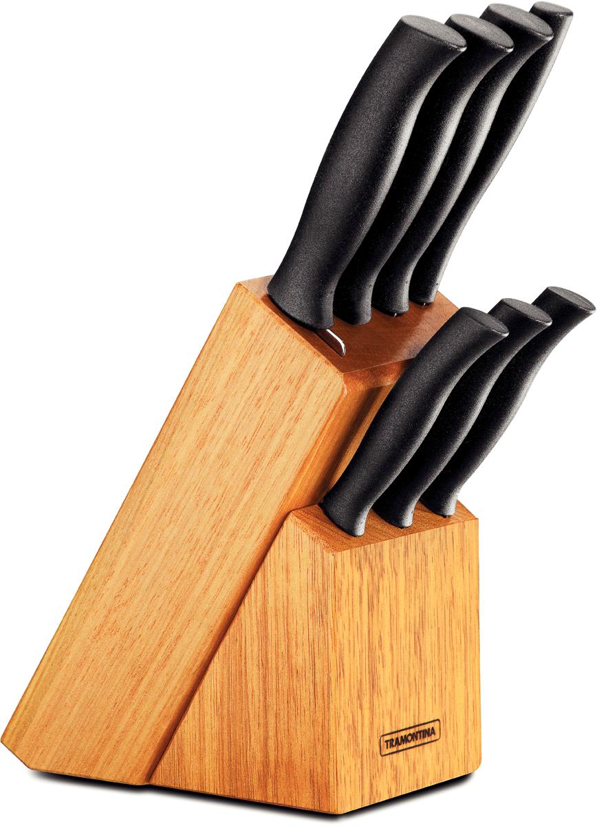 Нож Tramontina требует более редкой правки и заточки, что обеспечивает более долгий срок службы по сравнению с ножами из аналогичной стали других производителей, благодаря уникальному методу закалки в несколько этапов: - термическая закалка от + 850°C до + 1 060°C;  - охлаждение системой вентиляции до +350°C;  - промораживание при -80°C в течение 30 минут;  - нагревание газом от +250°C до +310°C  Сталь приобретает особую пластичность, коррозийно- и жаростойкость, сохраняя твердость порядка 53 единиц по шкале Роквелла.  Рукоятки серии Athus выполнены из полипропилена, долговечны, выдерживают температуру до 130°C.   Гарантия от производственного брака на ножи серии Athus 3 года!  В составе набора: - нож для овощей 7,5 см - нож для стейка 12,5 см - кухонный нож 15 см - кухонный нож 20 см - нож для хлеба 17,5 см - нож для томатов 12,5 см - разделочная вилка. Материал лезвия: нержавеющая сталь AISI 420. Материал рукоятки: полипропилен. Количество ножей: 7 шт. Можно мыть в посудомоечной машине: да.