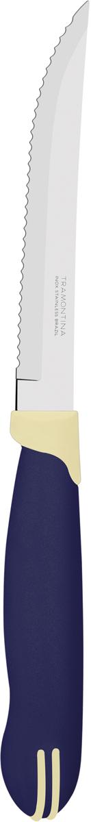 Набор ножей для мяса Tramontina Multicolor, цвет: синий, длина лезвия 12,5 см, 2 шт23500/215-TRБлагодаря уникальному методу закалки в несколько этапов: - термическая закалка от + 850°C до + 1 060°C;- охлаждение системой вентиляции до +350°C;- промораживание при -80°C в течение 30 минут;- нагревание газом от +250°C до +310°Cсталь приобретает особую пластичность, коррозийно и жаростойкость, сохраняя твердость порядка 53 единиц по шкале Роквелла. Как результат, ножи TRAMONTINA требуют более редкой правки и заточки, что обеспечивает более долгий срок службы по сравнению с ножами из аналогичной стали других производителей. Волнистое острие лезвия ножа не потребует постоянной заточки и даст возможность быстро и качественно порезать продукты, даже такие, как помидоры - с мягкой сердцевиной и твердой кожицей.Рукоятки серии Multicolor выполнены из полипропилена, долговечны, выдерживают температуру до 130°C. Гарантия от производственного брака на ножи серии Multicolor 3 года!Материал лезвия: нержавеющая сталь AISI 420 Материал рукоятки: полипропилен Длина лезвия: 12,5 см Количество ножей: 2 шт Страна производства: Бразилия