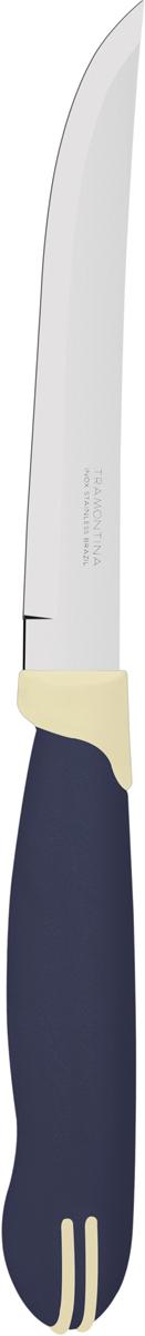 Нож универсальный Tramontina Multicolor, цвет: синий, длина лезвия 12,5 см, 2 шт. 23527/215-TR23527/215-TRБлагодаря уникальному методу закалки в несколько этапов:- термическая закалка от + 850°C до + 1 060°C; - охлаждение системой вентиляции до +350°C; - промораживание при -80°C в течение 30 минут; - нагревание газом от +250°C до +310°C сталь приобретает особую пластичность, коррозийно и жаростойкость, сохраняя твердость порядка 53 единиц по шкале Роквелла. Как результат, ножи TRAMONTINA требуют более редкой правки и заточки, что обеспечивает более долгий срок службы по сравнению с ножами из аналогичной стали других производителей. Рукоятки серии Multicolor выполнены из полипропилена, долговечны, выдерживают температуру до 130°C. Гарантия от производственного брака на ножи серии Multicolor 3 года!Материал лезвия: нержавеющая сталь AISI 420Материал рукоятки: полипропиленДлина лезвия: 12,5 смКоличество ножей: 2 штСтрана производства: Бразилия