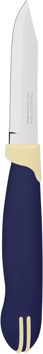 Нож для очистки овощей Tramontina Multicolor, цвет: синий, длина лезвия 7,5 см. 23511/913-TR23511/913-TRБлагодаря уникальному методу закалки в несколько этапов:- термическая закалка от + 850°C до + 1 060°C; - охлаждение системой вентиляции до +350°C; - промораживание при -80°C в течение 30 минут; - нагревание газом от +250°C до +310°C сталь приобретает особую пластичность, коррозийно и жаростойкость, сохраняя твердость порядка 53 единиц по шкале Роквелла. Как результат, ножи TRAMONTINA требуют более редкой правки и заточки, что обеспечивает более долгий срок службы по сравнению с ножами из аналогичной стали других производителей. Рукоятки серии Multicolor выполнены из полипропилена, долговечны, выдерживают температуру до 130°C. Гарантия от производственного брака на ножи серии Multicolor 3 года!Материал лезвия: нержавеющая сталь AISI 420Материал рукоятки: полипропиленДлина лезвия: 7,5 смСтрана производства: Бразилия