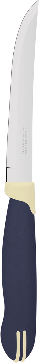Нож универсальный Tramontina Multicolor, цвет: синий, длина лезвия 12,5 см23527/915-TRБлагодаря уникальному методу закалки в несколько этапов:- термическая закалка от + 850°C до + 1 060°C; - охлаждение системой вентиляции до +350°C; - промораживание при -80°C в течение 30 минут; - нагревание газом от +250°C до +310°C сталь приобретает особую пластичность, коррозийно и жаростойкость, сохраняя твердость порядка 53 единиц по шкале Роквелла. Как результат, ножи TRAMONTINA требуют более редкой правки и заточки, что обеспечивает более долгий срок службы по сравнению с ножами из аналогичной стали других производителей. Рукоятки серии Multicolor выполнены из полипропилена, долговечны, выдерживают температуру до 130°C. Гарантия от производственного брака на ножи серии Multicolor 3 года!Материал лезвия: нержавеющая сталь AISI 420Материал рукоятки: полипропиленДлина лезвия: 12,5 смСтрана производства: Бразилия