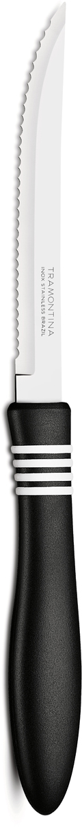 Нож для мяса Tramontina Cor&Cor, цвет: черный, длина лезвия 12,5 см23450/905-TRБлагодаря уникальному методу закалки в несколько этапов:- термическая закалка от + 850°C до + 1 060°C; - охлаждение системой вентиляции до +350°C; - промораживание при -80°C в течение 30 минут; - нагревание газом от +250°C до +310°C сталь приобретает особую пластичность, коррозийно и жаростойкость, сохраняя твердость порядка 53 единиц по шкале Роквелла. Как результат, ножи TRAMONTINA требуют более редкой правки и заточки, что обеспечивает более долгий срок службы по сравнению с ножами из аналогичной стали других производителей. Волнистое острие лезвия ножа не потребует постоянной заточки и даст возможность быстро и качественно порезать продукты, даже такие, как помидоры - с мягкой сердцевиной и твердой кожицей.Рукоятки серии Cor&Cor выполнены из полипропилена, долговечны, выдерживают температуру до 130°C. Гарантия от производственного брака на ножи серии Cor&Cor 5 лет!Материал лезвия: нержавеющая сталь AISI 420Материал рукоятки: полипропиленДлина лезвия: 12,5 смСтрана производства: Бразилия