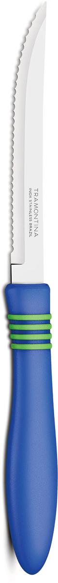 Нож для мяса Tramontina Cor&Cor, цвет: синий, длина лезвия 12,5 см23450/915-TRБлагодаря уникальному методу закалки в несколько этапов:- термическая закалка от + 850°C до + 1 060°C; - охлаждение системой вентиляции до +350°C; - промораживание при -80°C в течение 30 минут; - нагревание газом от +250°C до +310°C сталь приобретает особую пластичность, коррозийно и жаростойкость, сохраняя твердость порядка 53 единиц по шкале Роквелла. Как результат, ножи TRAMONTINA требуют более редкой правки и заточки, что обеспечивает более долгий срок службы по сравнению с ножами из аналогичной стали других производителей. Волнистое острие лезвия ножа не потребует постоянной заточки и даст возможность быстро и качественно порезать продукты, даже такие, как помидоры - с мягкой сердцевиной и твердой кожицей.Рукоятки серии Cor&Cor выполнены из полипропилена, долговечны, выдерживают температуру до 130°C. Гарантия от производственного брака на ножи серии Cor&Cor 5 лет!Материал лезвия: нержавеющая сталь AISI 420Материал рукоятки: полипропиленДлина лезвия: 12,5 смСтрана производства: Бразилия