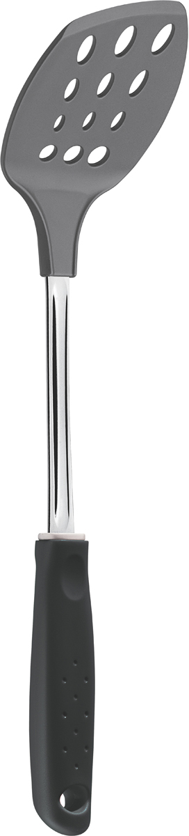 Лопатка кулинарная Tramontina Utilita, цвет: черный, длина 38,5 см25690/100-TRСерия кухонных аксессуаров Tramontina Utilita подходит для любителей современного дизайна и ярких красочных цветов. Для изготовления кухонных аксессуаров Tramontina используется высококачественный нейлон, который может выдерживать температуру до 230°С.Металлическая часть изготовлена из нержавеющая сталь AISI 420, благодаря уникальному методу закалки в несколько этапов (термическая закалка, охлаждение, промораживание, нагревание газом) сталь приобретает особую пластичность, коррозийно и жаростойкость, сохраняя твердость порядка 53 единиц по шкале Роквелла. Рукоятка и рабочая часть серии Utilita изготовлены из высококачественного нейлона, который может выдерживать температуру до 230?С. Изделия из такого материала рекомендуют использовать с антипригарным покрытием, так как они его не царапают. Металлическая часть: нержавеющая сталь AISI 420 Материал рабочей части: высококачественный нейлон Петля для подвешивания: да Можно мыть в посудомоечной машине: да
