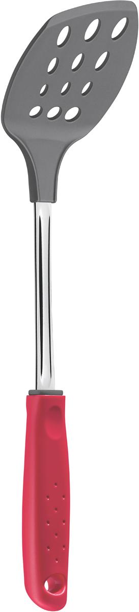 """Серия кухонных аксессуаров Tramontina """"Utilita"""" подходит для любителей современного дизайна и ярких красочных цветов.   Для изготовления кухонных аксессуаров Tramontina используется высококачественный нейлон, который может выдерживать температуру до 230°С.  Металлическая часть изготовлена из нержавеющая сталь AISI 420, благодаря уникальному методу закалки в несколько этапов (термическая закалка, охлаждение, промораживание, нагревание газом) сталь приобретает особую пластичность, коррозийно и жаростойкость, сохраняя твердость порядка 53 единиц по шкале Роквелла.   Рукоятка и рабочая часть серии Utilita изготовлены из высококачественного нейлона, который может выдерживать температуру до 230?С. Изделия из такого материала рекомендуют использовать с антипригарным покрытием, так как они его не царапают.   Металлическая часть: нержавеющая сталь AISI 420 Материал рабочей части: высококачественный нейлон Петля для подвешивания: да Можно мыть в посудомоечной машине: да Страна производства: Бразилия"""