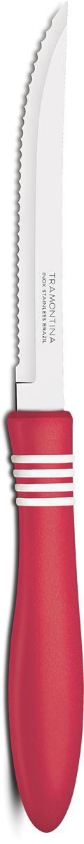 Нож для мяса Tramontina Cor&Cor, цвет: красный, длина лезвия 12,5 см23450/975-TRБлагодаря уникальному методу закалки в несколько этапов:- термическая закалка от + 850°C до + 1 060°C; - охлаждение системой вентиляции до +350°C; - промораживание при -80°C в течение 30 минут; - нагревание газом от +250°C до +310°C сталь приобретает особую пластичность, коррозийно и жаростойкость, сохраняя твердость порядка 53 единиц по шкале Роквелла. Как результат, ножи TRAMONTINA требуют более редкой правки и заточки, что обеспечивает более долгий срок службы по сравнению с ножами из аналогичной стали других производителей. Волнистое острие лезвия ножа не потребует постоянной заточки и даст возможность быстро и качественно порезать продукты, даже такие, как помидоры - с мягкой сердцевиной и твердой кожицей.Рукоятки серии Cor&Cor выполнены из полипропилена, долговечны, выдерживают температуру до 130°C. Гарантия от производственного брака на ножи серии Cor&Cor 5 лет!Материал лезвия: нержавеющая сталь AISI 420Материал рукоятки: полипропиленДлина лезвия: 12,5 смСтрана производства: Бразилия