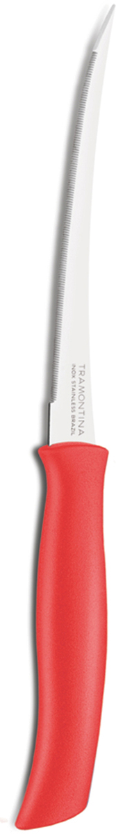 Нож для очистки овощей и фруктов Tramontina Athus, цвет: красный, длина лезвия 12,5 см23088/975-TRБлагодаря уникальному методу закалки в несколько этапов:- термическая закалка от + 850°C до + 1 060°C; - охлаждение системой вентиляции до +350°C; - промораживание при -80°C в течение 30 минут; - нагревание газом от +250°C до +310°C сталь приобретает особую пластичность, коррозийно и жаростойкость, сохраняя твердость порядка 53 единиц по шкале Роквелла. Как результат, ножи TRAMONTINA требуют более редкой правки и заточки, что обеспечивает более долгий срок службы по сравнению с ножами из аналогичной стали других производителей. Лезвие с микрозубчиками не потребует заточки и даст возможность быстро и качественно порезать продукты, даже такие, как помидоры - с мягкой сердцевиной и твердой кожицей.Рукоятки серии Athus выполнены из полипропилена, долговечны, выдерживают температуру до 130°C. Гарантия от производственного брака на ножи серии Athus 3 года!Материал лезвия: нержавеющая сталь AISI 420Материал рукоятки: полипропиленДлина лезвия: 12,5 смМожно мыть в посудомоечной машине: даСтрана производства: Бразилия
