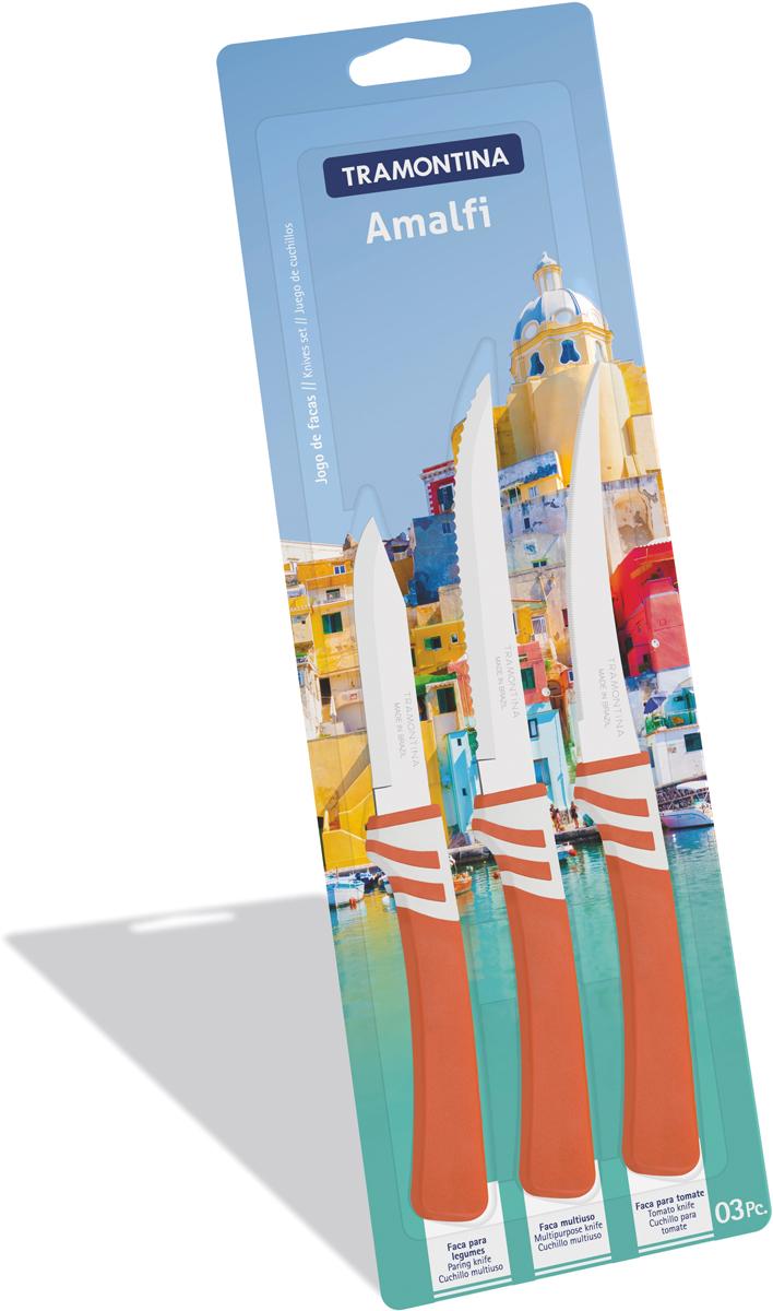 Набор ножей Tramontina Amalfi, цвет: оранжевый, 3 предмета