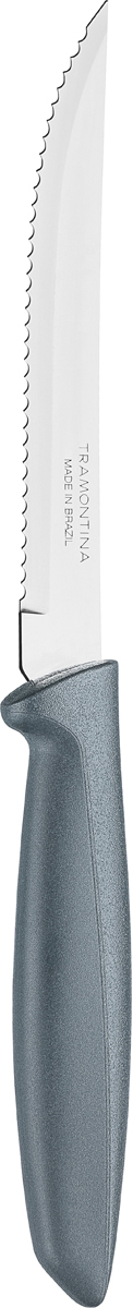 Нож для мяса Tramontina Plenus, цвет: серый, длина лезвия 12,5 см23410/465-TRБлагодаря уникальному методу закалки в несколько этапов: - термическая закалка от + 850°C до + 1 060°C;- охлаждение системой вентиляции до +350°C;- промораживание при -80°C в течение 30 минут;- нагревание газом от +250°C до +310°Cсталь приобретает особую пластичность, жаростойкость, сохраняя твердость порядка 53единиц по шкале Роквелла. Как результат, ножи TRAMONTINA требуют более редкой правки изаточки, что обеспечивает более долгий срок службы по сравнению с ножами из аналогичнойстали других производителей. Рукоятки серии Plenus выполнены из полипропилена, долговечны, выдерживают температурудо 130°C. Гарантия от производственного брака на ножи серии Plenus 3 года!Материал лезвия: нержавеющая сталь AISI 420 Материал рукоятки: полипропилен Длина лезвия: 12,5 см Страна производства: Бразилия