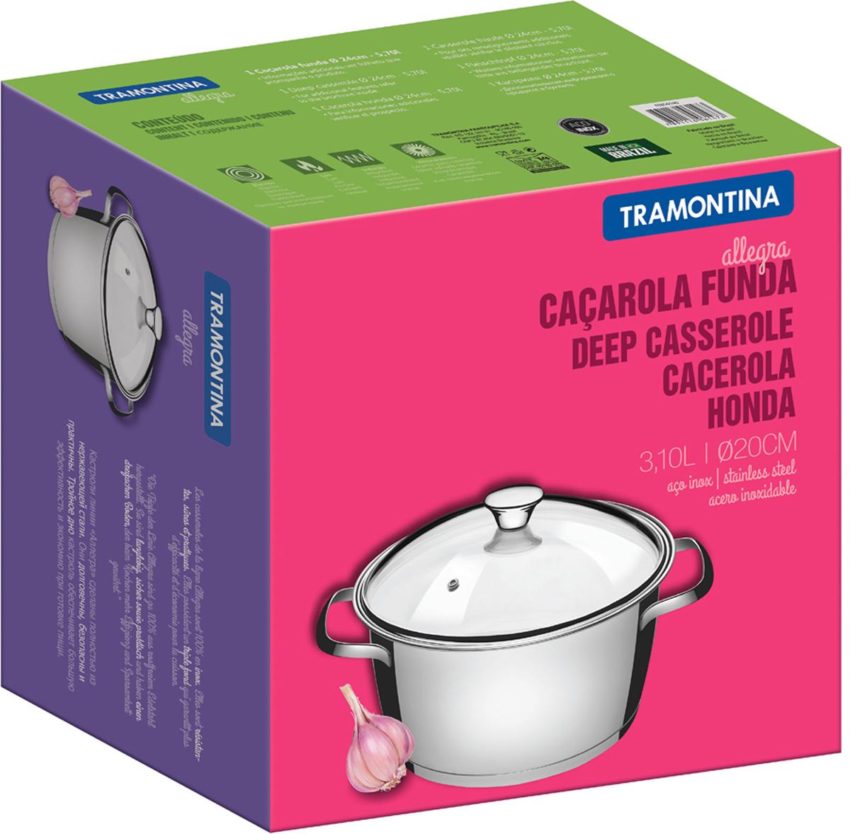 Кастрюля Tramontina Allegra с крышкой, 3,04 л62654/204-TRTramontina Allegra отличается практичностью и надежностью в каждой детали. Это посуда, в которой нет ничего лишнего, увеличивающего стоимость, и которая идеально подходит для каждодневного приготовления пищи в течение долгого времени.Корпус изделий, входящих в коллекцию, выполнен высококачественной хром-никелевой аустенитной нержавеющей стали с низким содержанием углерода, обладающей высокими эксплуатационными характеристиками – она устойчива к агрессивным пищевым кислотам и щелочам и не вступает в реакцию пищей.Толщина стенок корпуса составляет 0,5 мм, что соответствует российским и европейским нормам. Качество стали гарантирует максимальную безопасность посуды, как в процессе приготовления, так и в процессе хранения продуктов. Для изготовления крышек используется самый качественный материал – огнеупорное стекло с повышенной сопротивляемостью к механическим воздействиям. Можно не беспокоиться о том, что крышка неожиданно лопнет (как часто бывает с недорогой посудой китайского производства), кроме того, она с легкостью выдерживает падение с полутораметровой высоты на жесткий пол. Удобные ручки из нержавеющей стали с креплением на точечной сварке, что гарантирует простоту в уходе и гигиеничность. Посуду с ручками на точечной сварке удобно мыть как вручную, так и в посудомоечной машине, не боясь, что агрессивные моющие средства во взаимодействии с алюминием образуют налет, как это бывает иногда с посудой, ручки которой имеют клепочное крепление. Дно посуды - трехслойное, с теплораспределительным слоем из алюминия, производится с использованием технологии Impact, благодаря которой алюминий под давлением пресса с усилием в 3000 тонны заполняет целиком всю капсулу дна, создавая единое целое корпус-алюминиевый диск-дно. Отсутствие пустот благоприятно сказывается на теплораспределительных свойствах дна и гарантирует долгий срок службы.- Общая толщина дна: 5,1 мм - Толщина теплораспределительного слоя: 4 мм - Толщина 