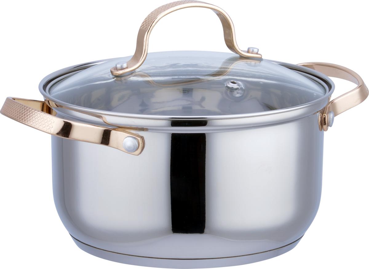 Кастрюля Bekker, с крышкой, 1,9 л. BK-1776BK-17761,9л/16 см, высота 9,5 см. Зеркальная поверхность, стеклянная крышка, ручки из нержавеющей стали под золото. Мерная шкала на внутренней стенке. Толщина стенки 0,5 мм, дна 3 мм. Капсулированное дно. Подходит для индукционных плит и чистки в посудомоечной машине. Состав: нержавеющая сталь.