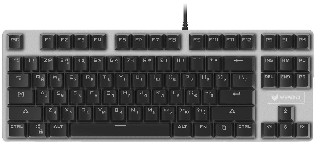 Rapoo V500 Alloy игровая клавиатура17714Rapoo V500 Alloy - игровая клавиатура для требовательных, ищущих что-то отличное от традиционной клавиатуры.C алюминиевой поверхностью, придающей элегантный вид, механическими клавишами, специальным дизайном сзащитой от пролива и защитой от фантомных нажатий (26 бесконфликтных клавиш) эта клавиатура рассчитана нанескончаемый игровой процесс. Более того, данная клавиатура практически не занимает места на вашем игровомстоле, что делает ее идеальной для вечерних соревнований по сети и игры за ноутбуком.Как выбрать игровую клавиатуру. Статья OZON Гид
