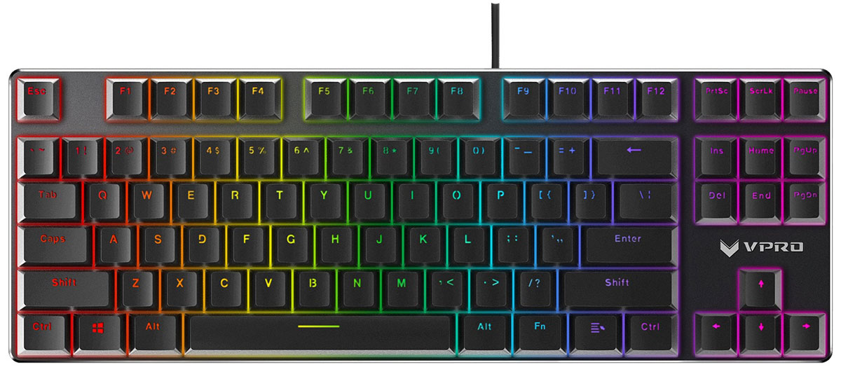 Rapoo V500RGB Alloy, Black игровая клавиатура17716Rapoo V500RGB Alloy - это механическая игровая клавиатура для требовательных, кто ищет уникальное оборудование с привлекательным внешним видом и высокой производительностью. Благодаря элегантному дизайну, имеющему поверхность из алюминиевого сплава, механические переключатели, полностью программируемые клавиши с защитой от антомных нажатий (все клавиши) и встроенной памятью. Эта клавиатура рассчитана на нескончаемый игровой процесс. Более того, клавиатура оснащена настраиваемой RGB-подсветкой клавиш, на которую невозможно не обратить внимания!Как выбрать игровую клавиатуру. Статья OZON Гид