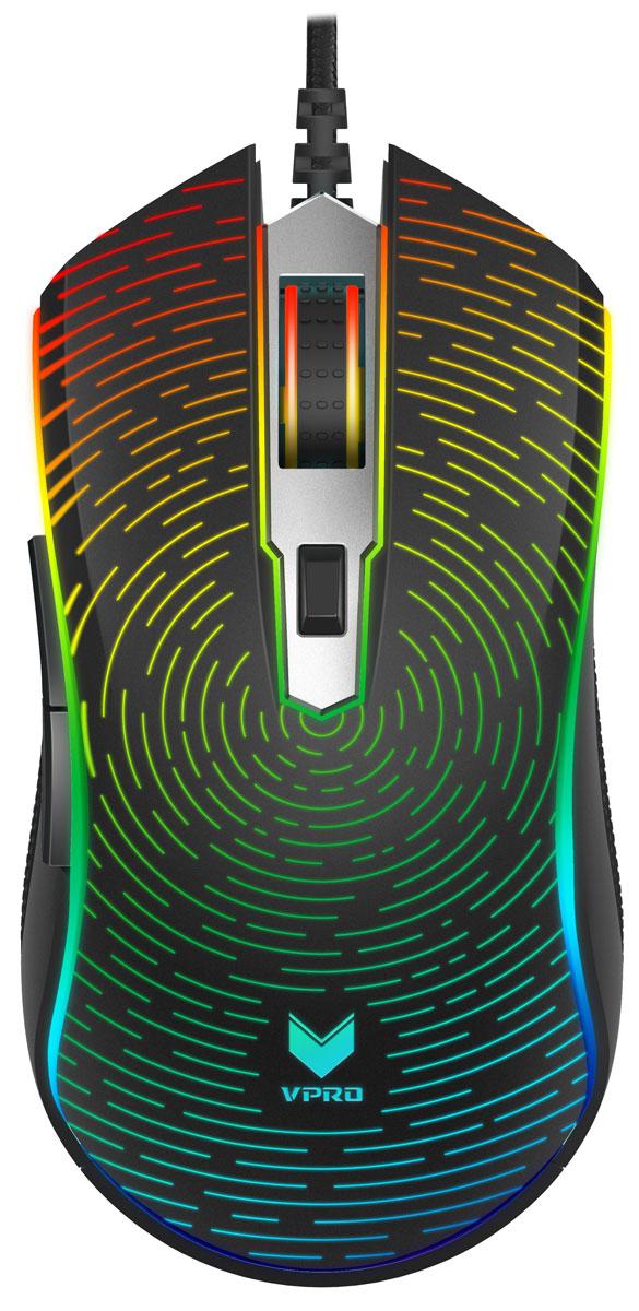Rapoo V25S RGB, Black игровая мышь17603Мышь предназначена для использования обеими руками, защищает руку от перенапряжения, обеспечивает удобство хвата и комфорт в самой долгой игре. Уверенность – хорошо, а управление – лучше! Модель V25S оснащена 5 настраиваемыми клавишами, которым можно назначить разнообразные функции и макрокоманды. Можно выбрать любое из 7 значений DPI: 500/750/1000/1250/1500/2000/2500/3000/3250/3500/ 4000/5000/6000/7000 (до 7000 DPI). Это позволяет соблюдать разрешения различных экранов. Профессиональный игровой оптический механизм со скоростью обработки изображений 5300 кадров/с, скоростью отслеживания 80 дюймов/с и частотой опроса USB до 1000 раз/с обеспечивает точность отслеживания в любое время и в любом месте. Модель V25S оснащена разноцветной светодиодной подсветкой, которая позволяет настраивать внешний вид мыши в зависимости от предпочтений пользователя. Модель V25S имеет режим подсветки APM для отображения действий пользователя за минуту в виде зрелищного светового представления. Встроенная память для сохранения параметров мыши (макросов, значения DPI и режима пульсирующей подсветки) в игровом режиме. Вы сможете сохранить индивидуальный стиль игры на любом компьютере без использования дополнительного ПО.Как выбрать игровую мышь. Статья OZON Гид