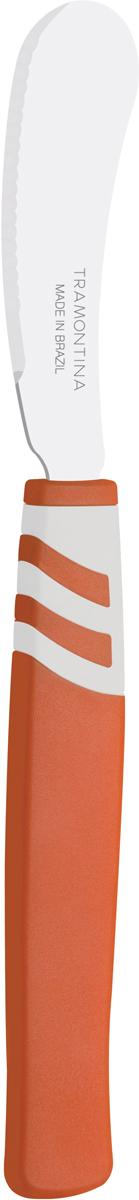 Набор ножей для масла Tramontina Amalfi, цвет: оранжевый, длина лезвия 7,5 см, 2 шт23483/243-TRБлагодаря уникальному методу закалки в несколько этапов: - термическая закалка от + 850°C до + 1 060°C;- охлаждение системой вентиляции до +350°C;- промораживание при -80°C в течение 30 минут;- нагревание газом от +250°C до +310°Cсталь приобретает особую пластичность, коррозийно и жаростойкость, сохраняя твердость порядка 53 единиц по шкале Роквелла. Как результат, ножи TRAMONTINA требуют более редкой правки и заточки, что обеспечивает более долгий срок службы по сравнению с ножами из аналогичной стали других производителей. Рукоятки серии Amalfi выполнены из полипропилена, долговечны, выдерживают температуру до 130°C. Гарантия от производственного брака на ножи серии Amalfi 3 года!Материал лезвия: нержавеющая сталь AISI 420 Материал рукоятки: полипропилен Длина лезвия: 7,5 см Количество ножей: 2 шт Страна производства: Бразилия