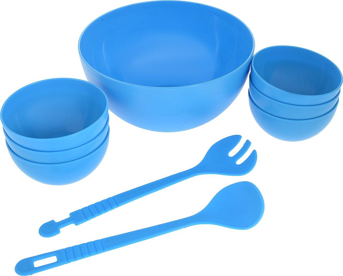Набор для салата Gotoff, цвет: синий, 9 предметовWTC-700_синийНабор для салата Gotoff состоит из большого салатника, 6 мисок, ложки и вилки. Предметы набора выполнены из полипропилена.Такой набор прекрасно подойдет для использования его на даче и пикниках.Диаметр салатника: 23 см. Высота салатника: 12 см. Диаметр миски: 12 см. Высота миски: 6,3 см. Длина приборов: 29 см.